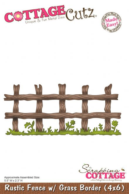 CC4x6-109 ~ RUSTIC FENCE with GRASS BORDER ~ (4X6) die